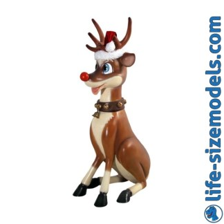 Funny Reindeer Sitting Christmas Model