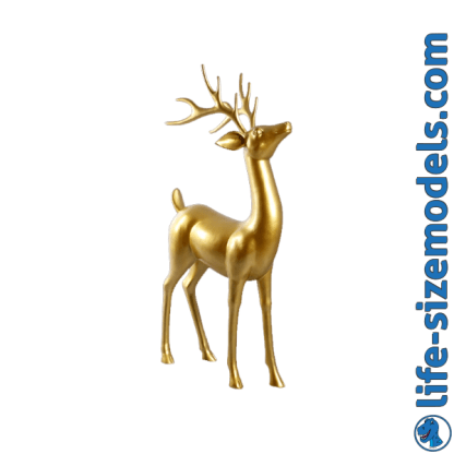 Gold Leaf Reindeer 3D Realistic Lifesize Christmas Model