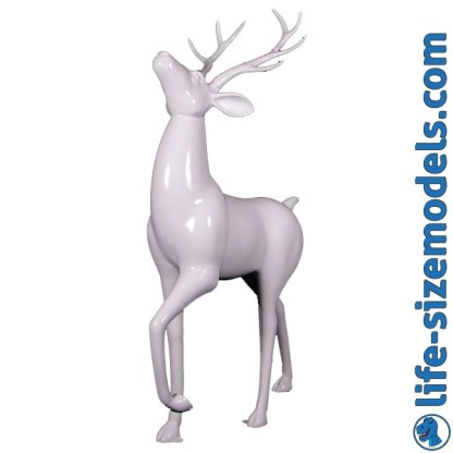 Royal Stag Figure-Glossy White 3D Realistic Lifesize Christmas Model