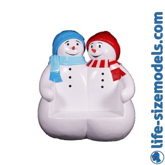 Snowmen Seat Figure 3D Realistic Lifesize Christmas Model