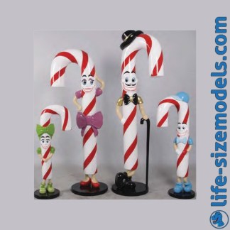 Candy Cane Family Figures 3D Realistic Lifesize Christmas Models