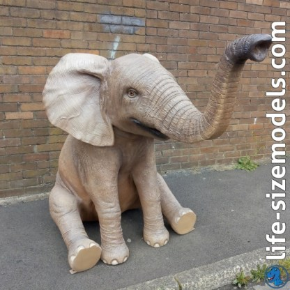 Elephant Calf Sitting 3d rEALISTIC lIFESIZE wILD aNIMAL sTATUE