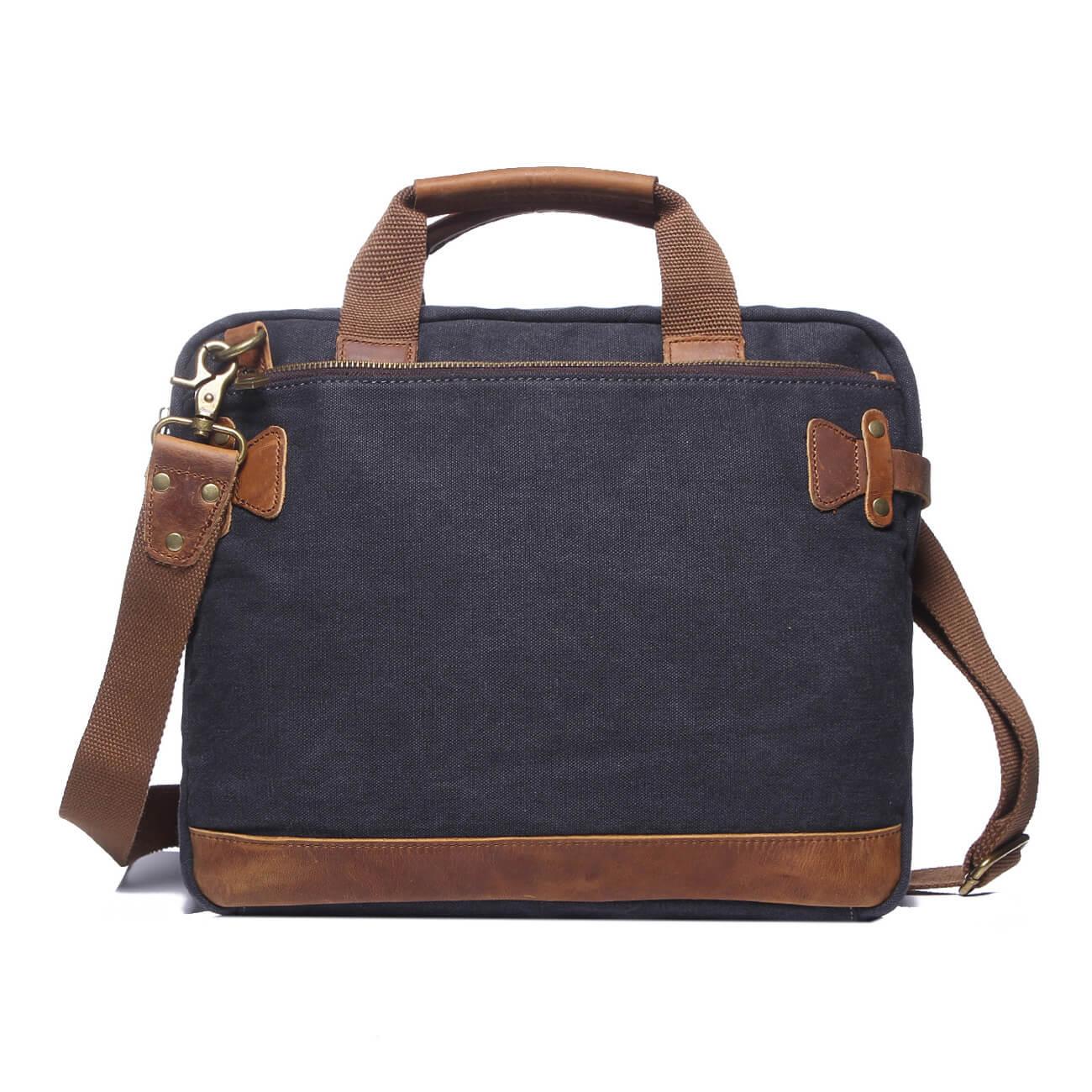 Heavy Cotton Canvas Laptop Bag Tote Business Bag Men Shoulder Bag Briefcase Working Bag