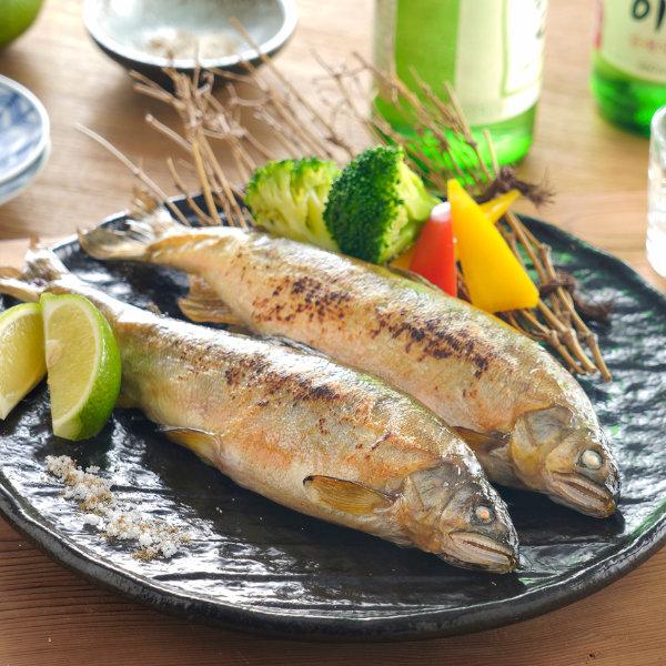 鹽烤香魚-料理