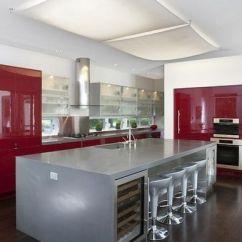 Kitchen Counter Square Island 红色厨房装修设计效果图_央广网