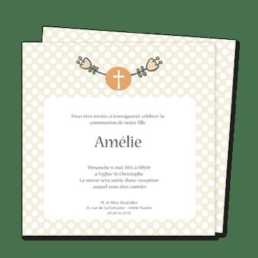 communion personnalisable couronne fleurs