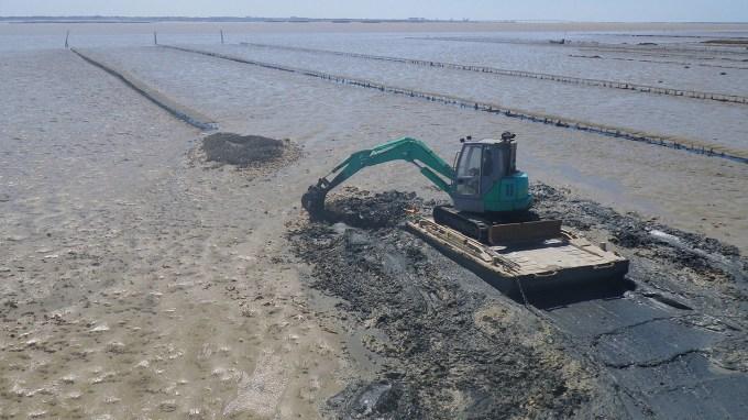 Travaux d'enlèvement de crassat d'huîtres - Life baie de l'Aiguillon