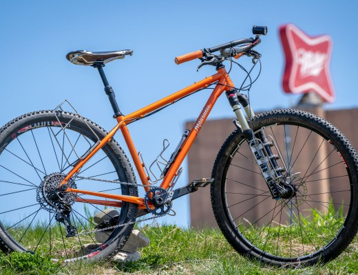 Milwaukee Bicycle Company Feral 29er in front of the Miller Brewing sign