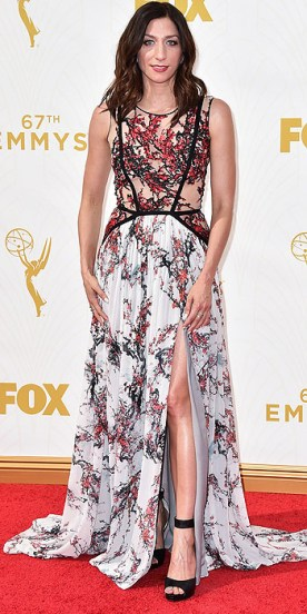 Chelsea Peretti arrives at the 67th Primetime Emmy Awards on Sunday, Sept. 20, 2015, at the Microsoft Theater in Los Angeles. (Photo by Jordan Strauss/Invision/AP)