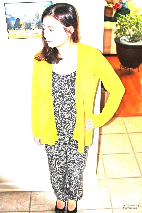 Printed Jumpsuit & Mustard Cardigan 6