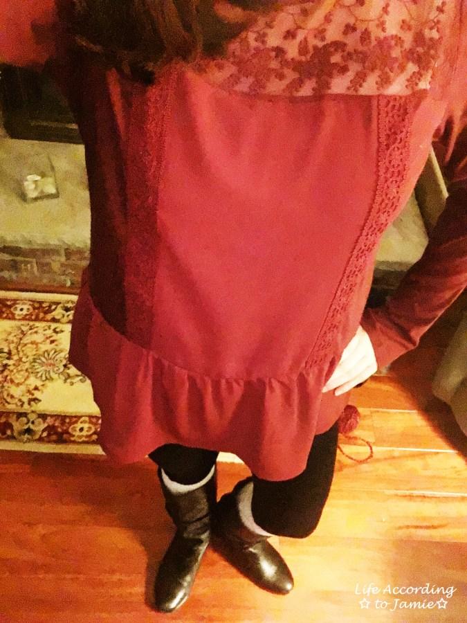 Red Lace Yoke Peplum 5