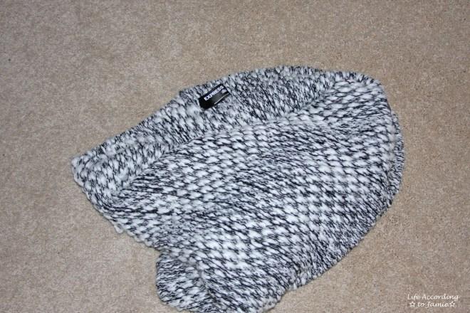 Grey & White Knit Circle Scarf
