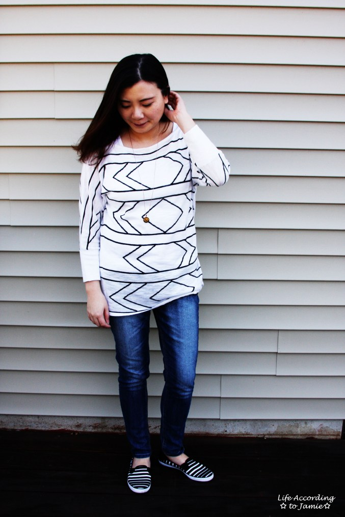 White & Black Geometric Top