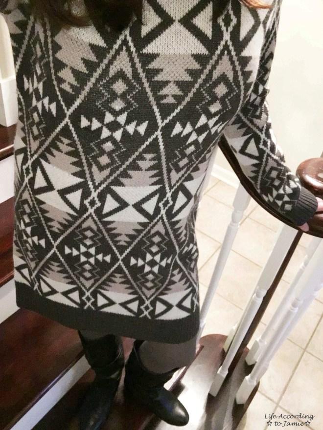 Aztec Print Sweater Dress 3