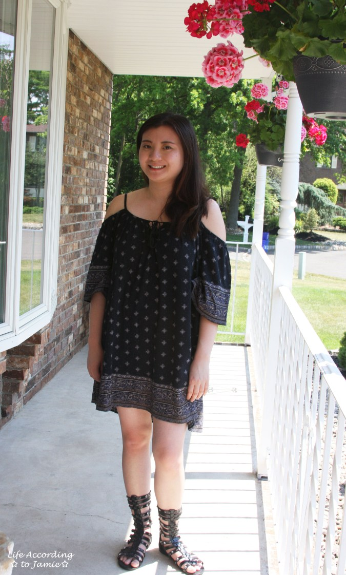 Patterned Off the Shoulder Dress 2