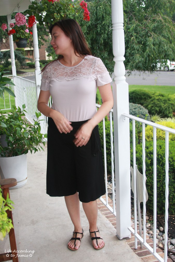 Lace Topped Blouse & Culottes 2