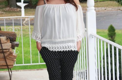 lace-off-the-shoulder-diamond-print-pants
