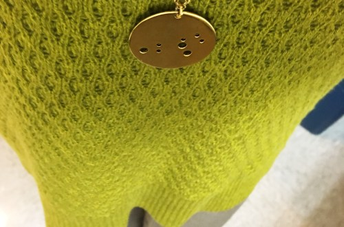 textured-chartreuse-sweater-leo-zodiac-necklace