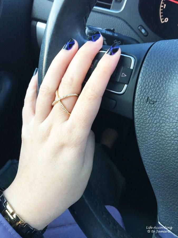 Black & Purple X Nails 2