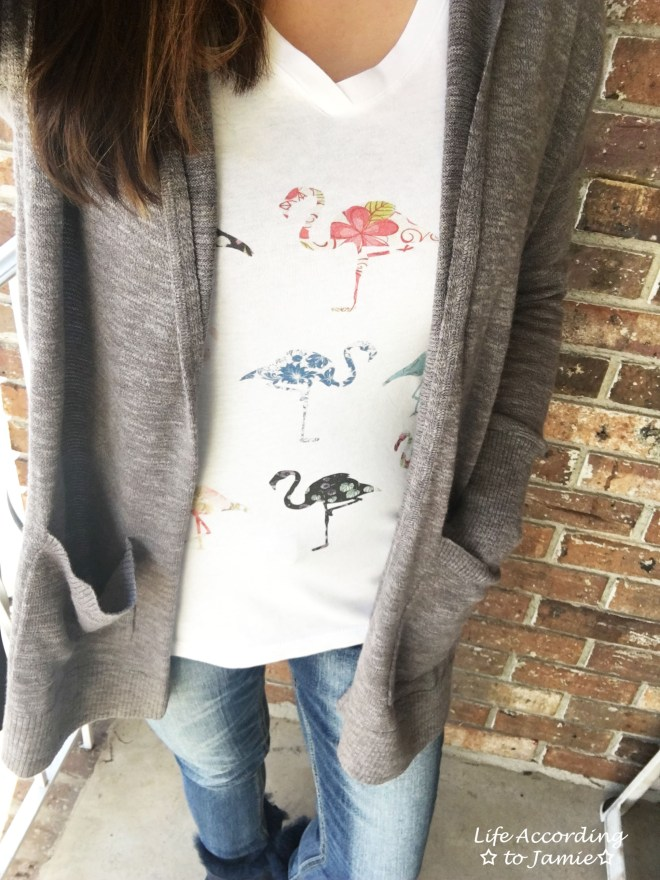 Hooded Cardigan + Flamingo Tee
