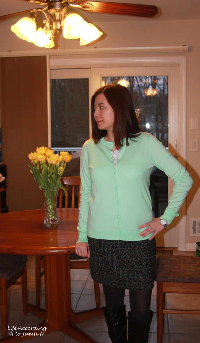 Mint Cardigan + Tweed Skirt 1
