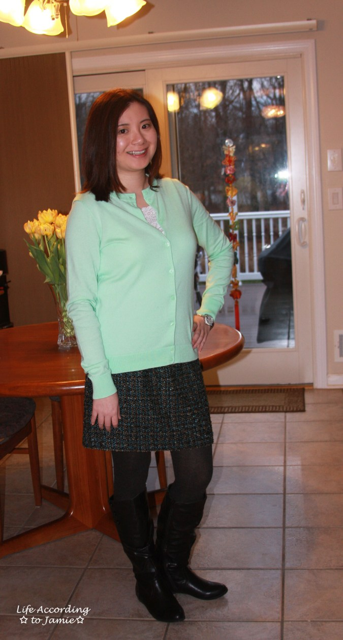 Mint Cardigan + Tweed Skirt 3