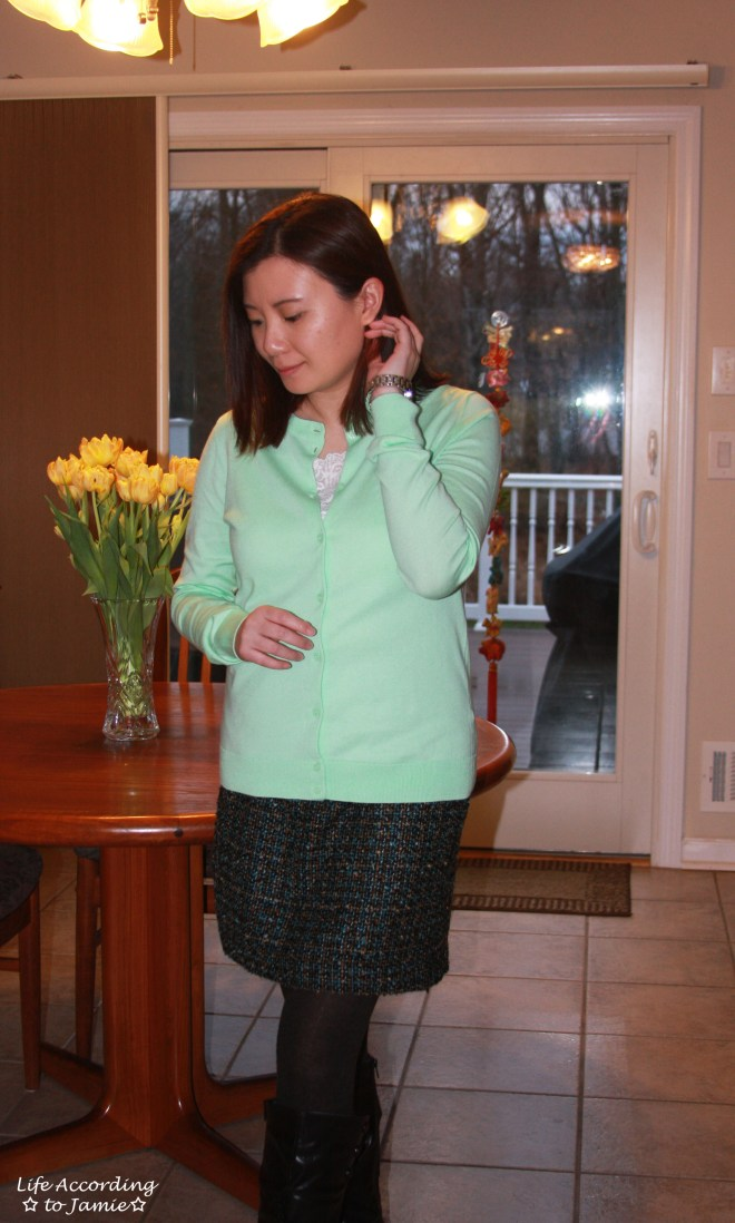 Mint Cardigan + Tweed Skirt