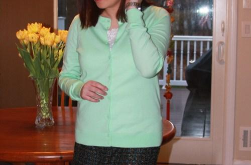 Mint Cardigan + Tweed Skirt