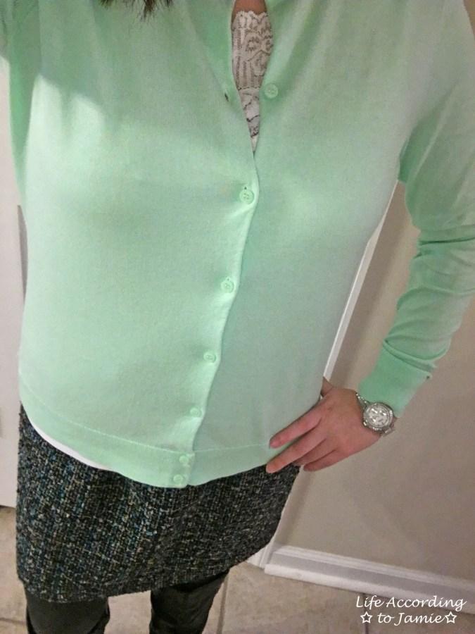 Mint Cardigan + Tweed Skirt 5