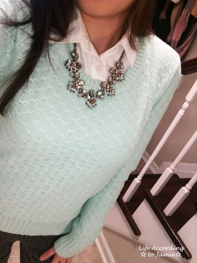 Mint Sweater + Statement Necklace 1