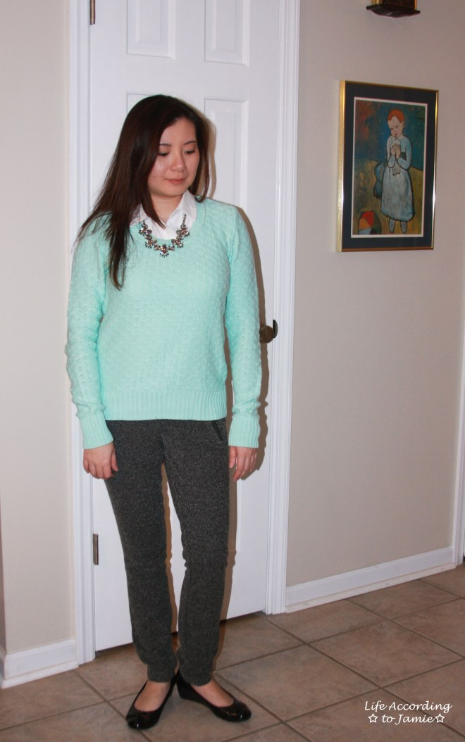 Mint Sweater + Statement Necklace 8