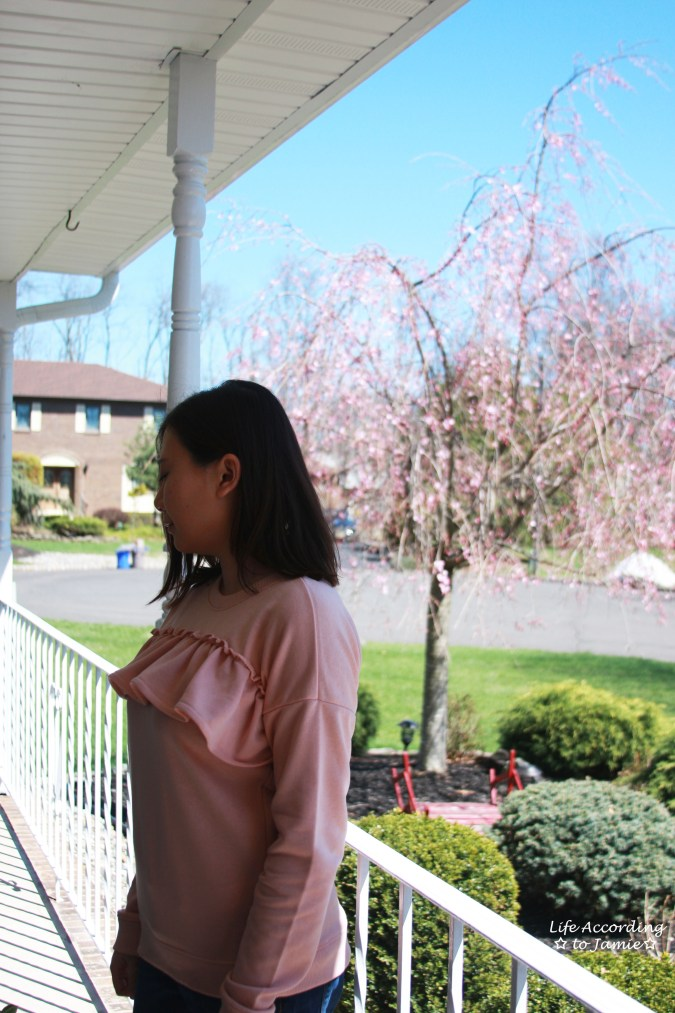 Pink Front Ruffle Sweat Top 2