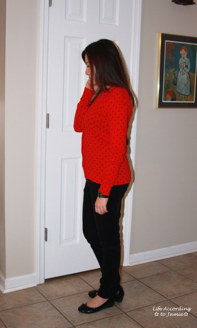 Red & Black Polka Dot Cardigan 1