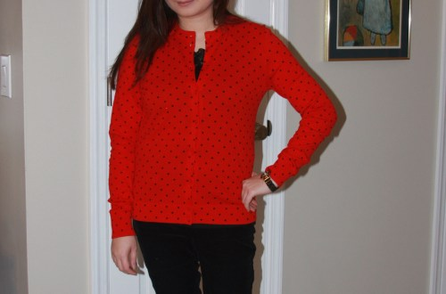 Red & Black Polka Dot Cardigan