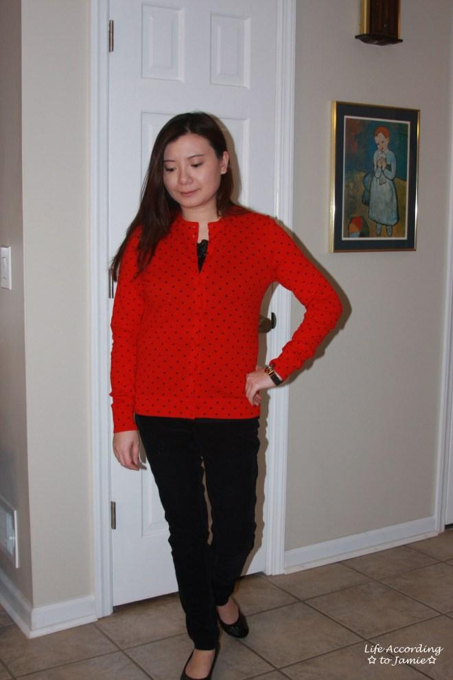 Red & Black Polka Dot Cardigan 3