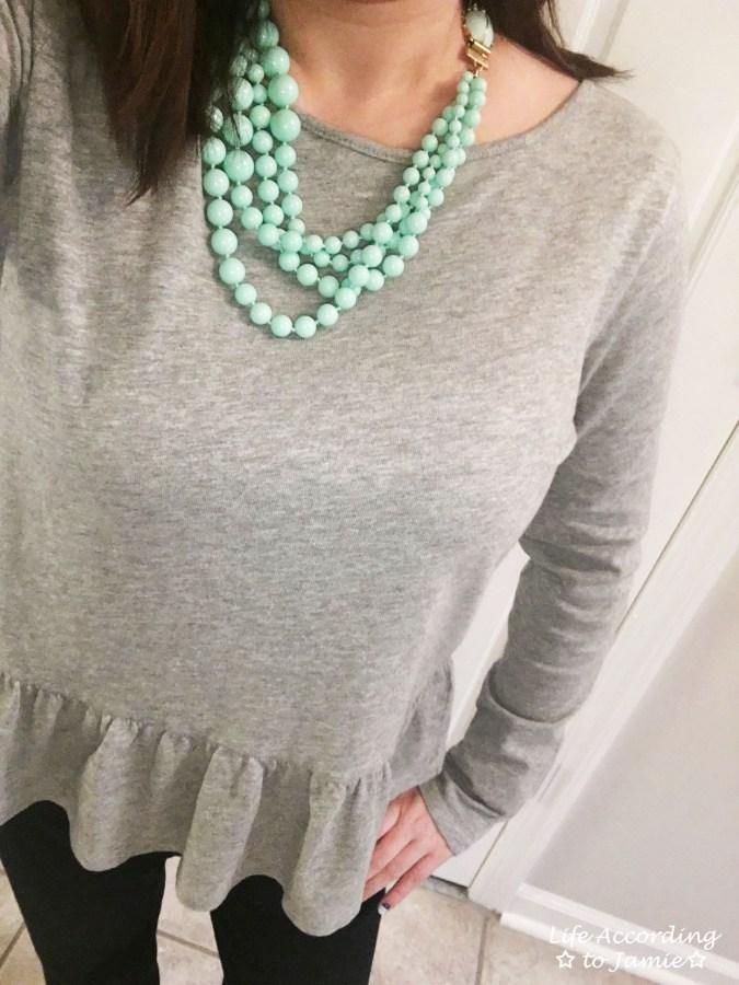 Grey Peplum + Mint Beads 4