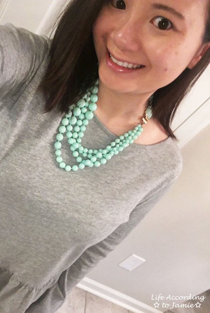 Grey Peplum + Mint Beads 5