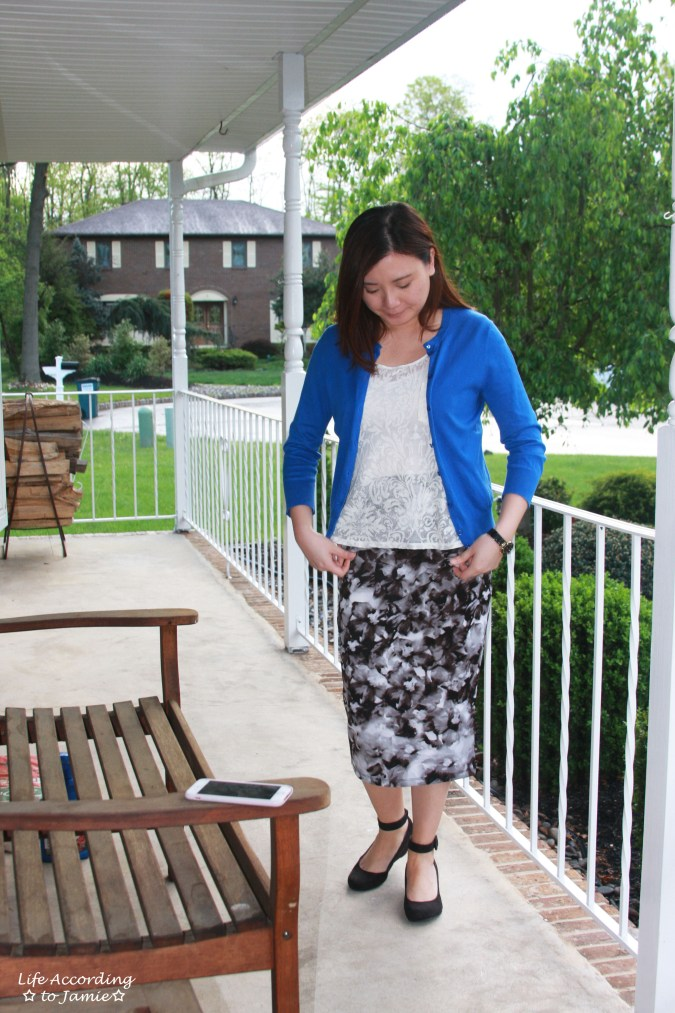 Lace + Scuba Knit Skirt 4