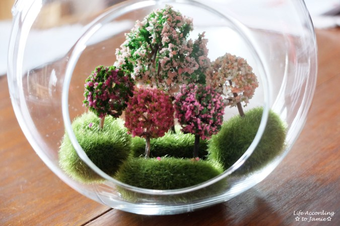 Mini Faux Flowering Tree Globes 1