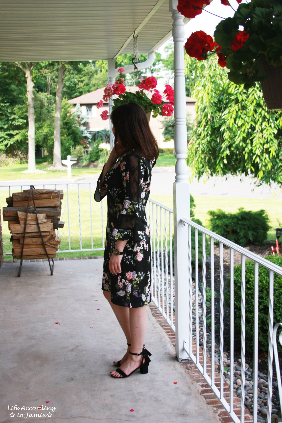 Dark Floral + Lace Dress