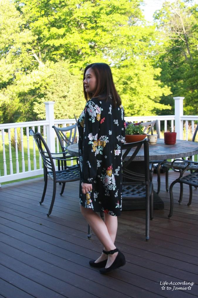 Dark Floral Shirt Dress 2