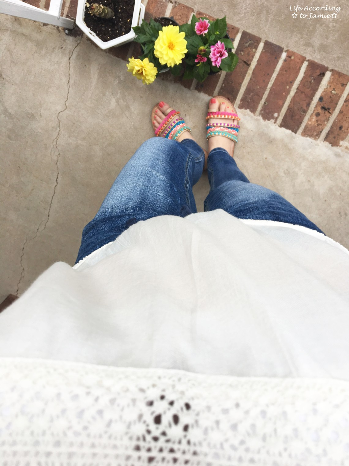 OTS Crochet Top + Pompom Sandals