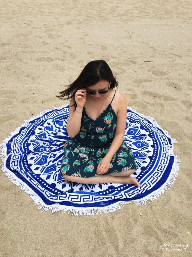 Blue + White Circle Beach Blanket 2