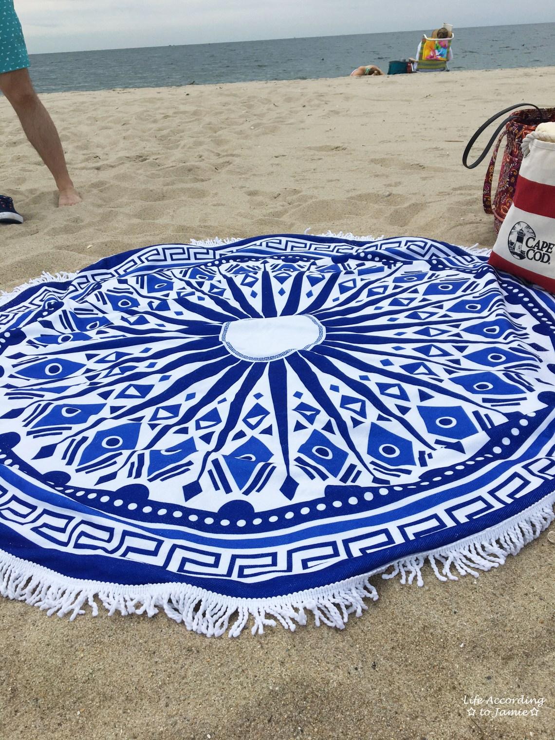 Blue + White Circle Beach Blanket