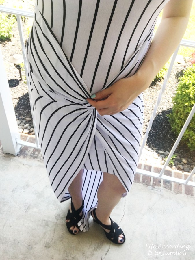 Striped Knot Twist Dress 10