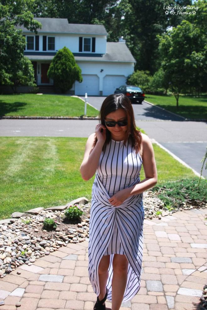 Striped Knot Twist Dress 6