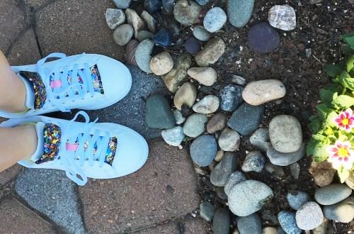 White Adidas + Sequin Shoe Tongue