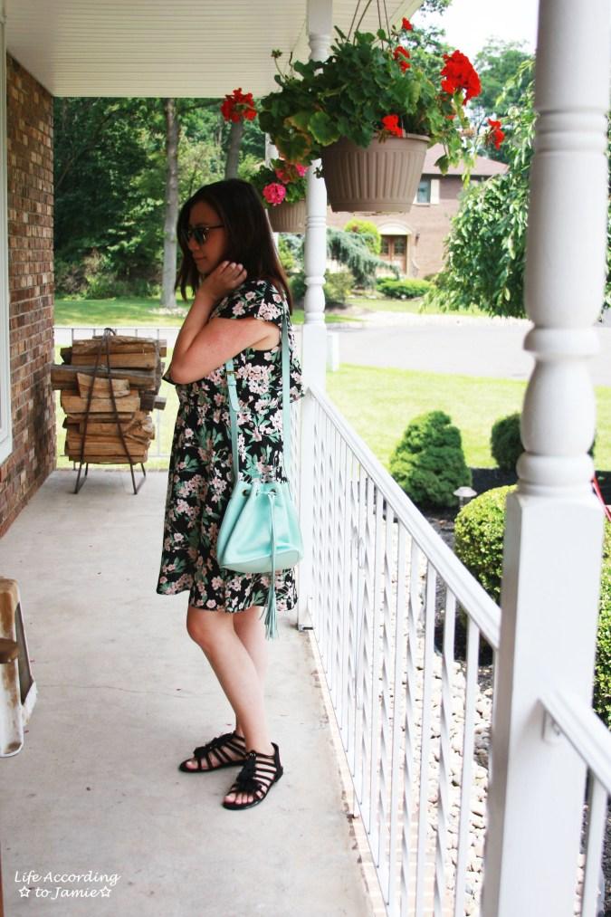 1-Shoulder Ruffled Floral Dress + Mint Bucket Bag