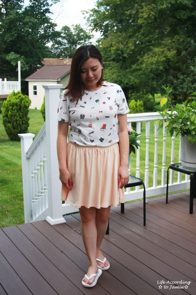 Summer Graphic Tee + Peach Skater Skirt 5