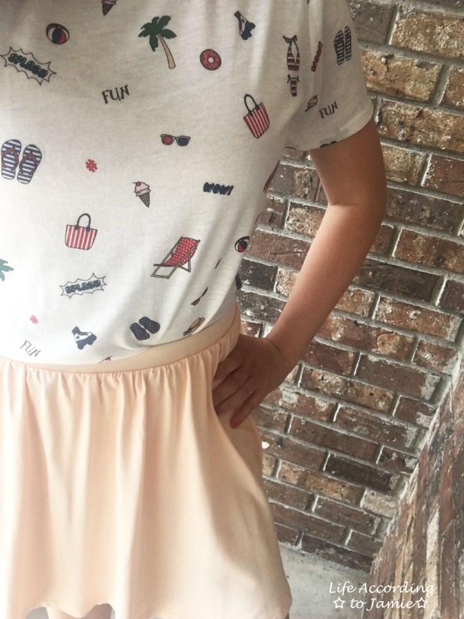 Summer Graphic Tee + Peach Skater Skirt 6
